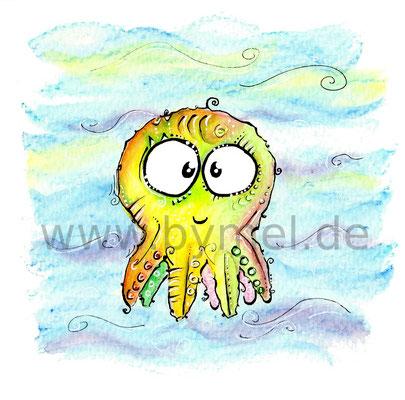 """""""Mini-Tintenfisch"""",  Aquarell auf 300g/qm Aquarellpapier, Preis: 40€ zzgl. Versand, erhältlich als limitierter, handsignierter Druck für 20€ zzgl. Versand"""