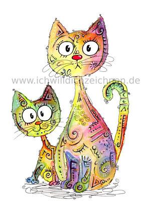 """""""Katzenpaar"""",  Aquarell auf 300g/qm Aquarellpapier, 24x32cm, Preis: 220€ zzgl. Versand, erhältlich als limitierter, handsignierter Druck für 40€ zzgl. Versand"""