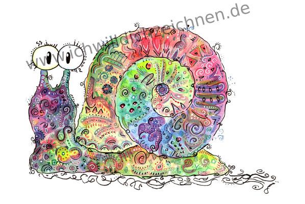 """""""Elli die Schnecke"""", Aquarell auf 300g/qm Aquarellpapier, A4,Preis: 190€ zzgl. Versand, erhältlich als limitierter, handsignierter Druck für 40€ zzgl. Versand"""
