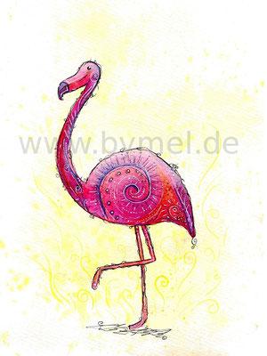 """""""Flamingo"""",  Aquarell auf 250g/qm Aquarellpapier, Preis: 210€ zzgl. Versand, erhältlich als limitierter, handsignierter Druck für 40€ zzgl. Versand"""