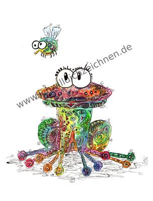 """Frosch Paul"", Aquarell auf 300g/qm Aquarellpapier, A4,Preis: 190€ zzgl. Versand, erhältlich als limitierter, handsignierter Druck für 40€ zzgl. Versand"