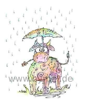 """""""Regenkuh"""",  Aquarell auf 300g/qm Aquarellpapier, 24x32cm, Preis: 220€ zzgl. Versand, erhältlich als limitierter, handsignierter Druck für 40€ zzgl. Versand"""