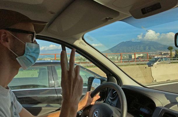 Driving past the Vesuvio.