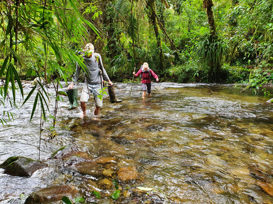 Crossing the Rio Lori to reach our second camp. © Jelmer Groen