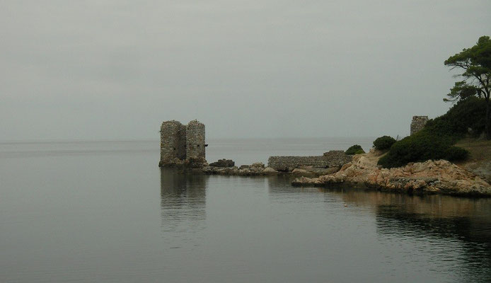 The remains of the harbour of the old iron mine at Atsitsa Bay.