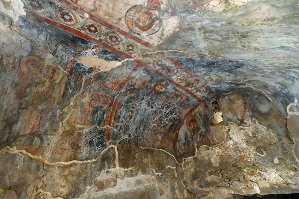 Impressive frescoes inside the cave church.