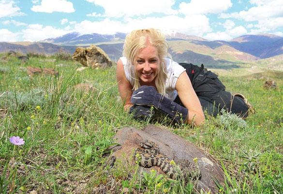 Laura admiring one of these stunning animals.