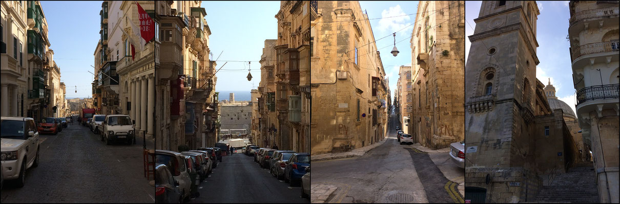 Impressions of the beautiful narrow streets in Valletta.