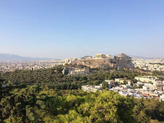 View on the Acropolis with the Parthenon on top.