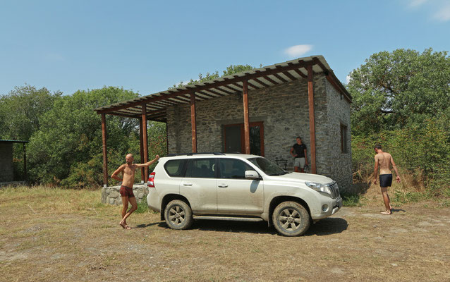 Our car and accommodation.