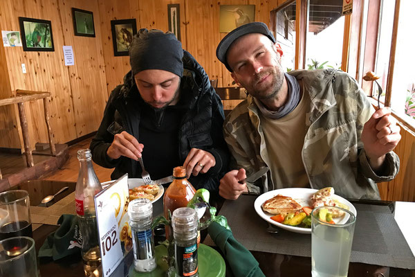 Wouter and I getting some energy before another cold night of herping.