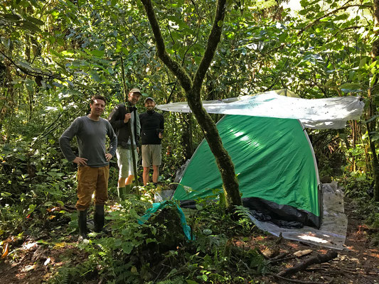 Our first camp after it withstood the rain of the previous day.