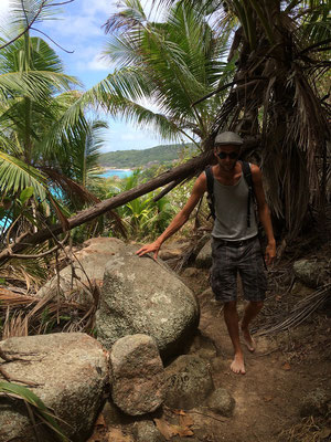 Hiking to Anse Cocos.