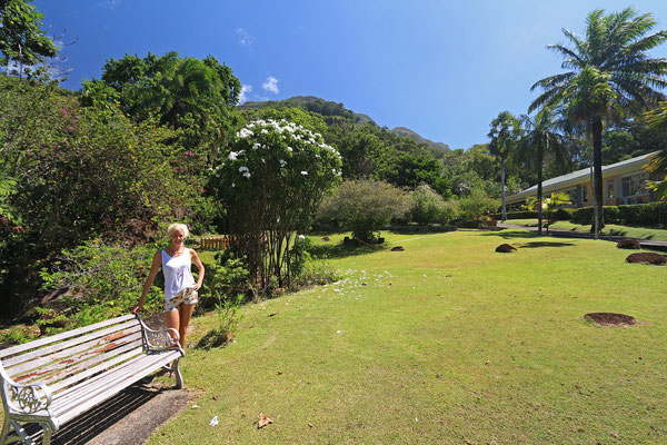 Laura in the Seychelles National Botanical Gardens .