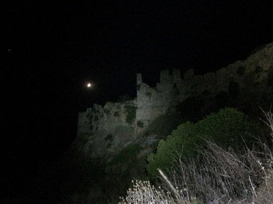 Ruined castle at night.