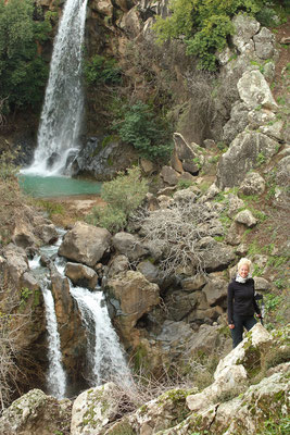 Laura at Sa'ar Falls.