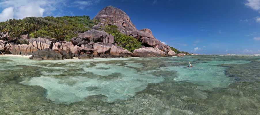 Snorkeling at Anse Source d'Argent.