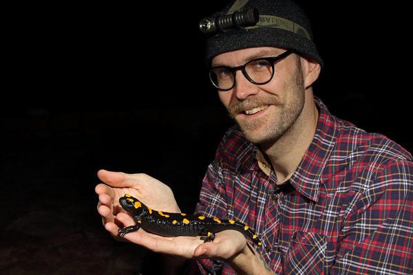 Happy herper with Oriental Fire Salamander (Salamandra infraimmaculata).