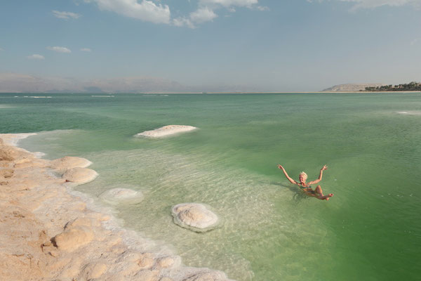 Having fun in the Dead Sea.