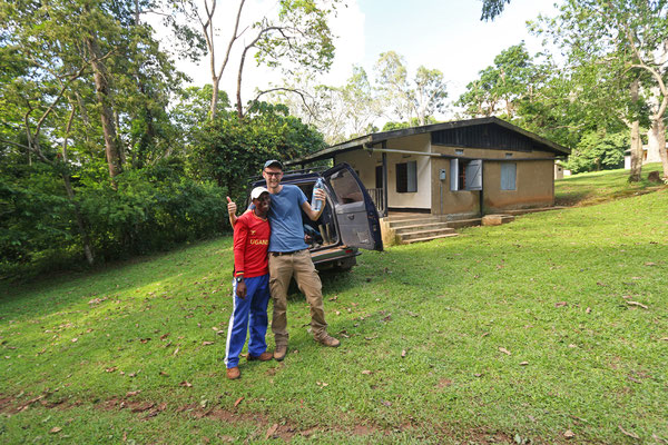 Isaiah and I in front of our accommodation.