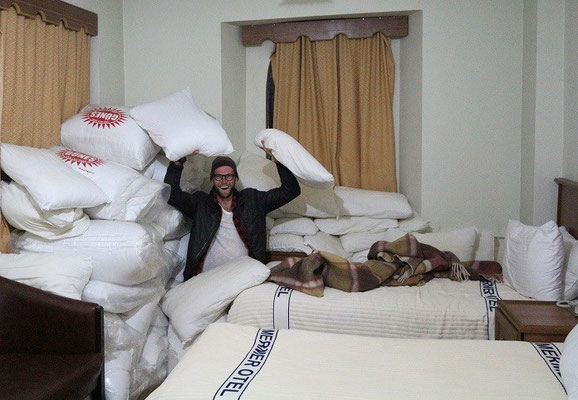 Happy times in the pillow fight suite!
