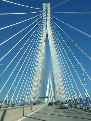 The Rio–Antirrio Bridge, one of the world's longest multi-span cable-stayed bridges.