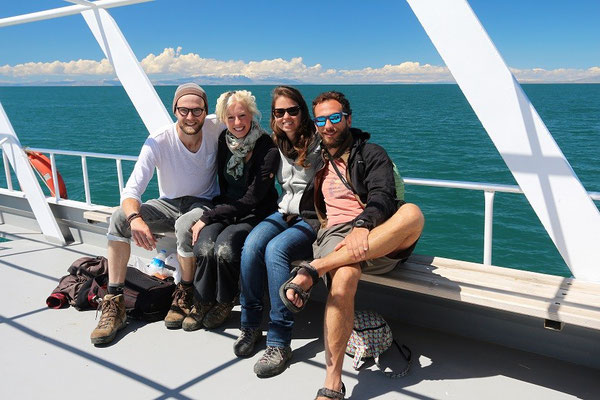 Me, Laura, Anna and Marco on the way back to the mainland.