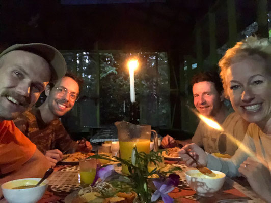 Candlelight dinner in the rainforest for our 5th wedding anniversary.