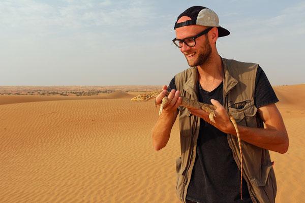 Me holding a beautiful Desert Monitor Lizard (Varanus griseus)