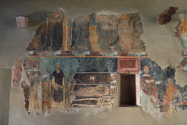 "Ancient mural of ""the three living and the three dead"" in Chiesa di Nostra Signora de Sos Regnos Altos."