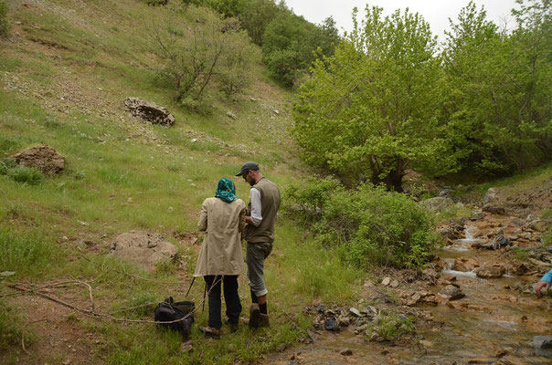 Laura and me in habitat of Kurdistan Newt and Levant Green Lizard. © Joachim Nerz