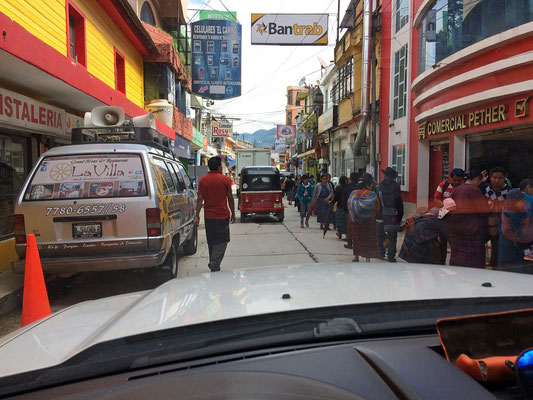 Driving through a typical Guatemalan town.