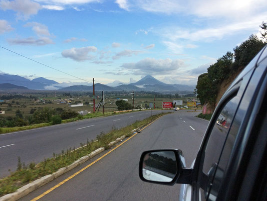 Passing Volcán de Agua on our way north.