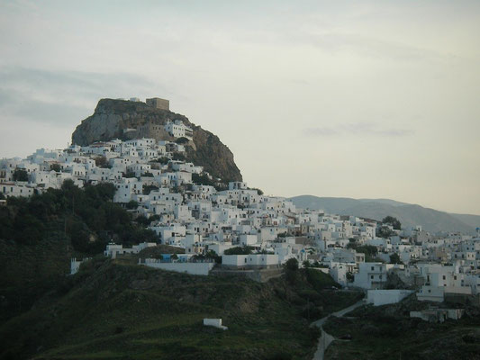 The islands capital Chora is located on a land facing slope, keeping it out of sight of marauding pirates.