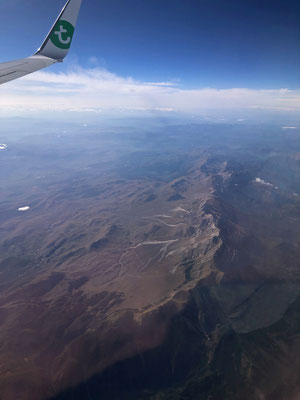 Flying south towards more interesting scenery than the densely populated Netherlands.