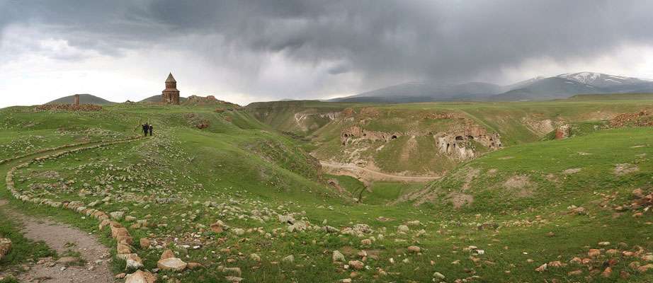 The ancient Armenian capitol of Ani with a distant thunderstorm slowly rolling in.