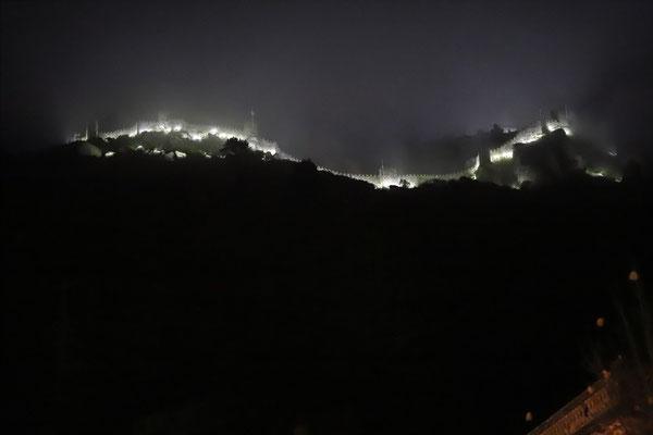 Castelo dos Mouros above Sintra in dense fog.
