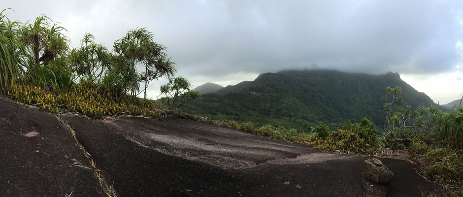 View from Copolia Peak towards the Morne Seychellois with its peak covered in dense cloud cover.