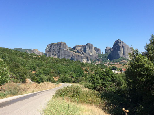 Approaching the Meteora monasteries.