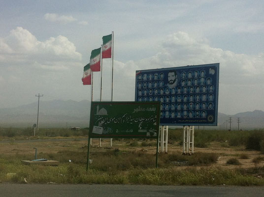 Every little village, no matter how remote, lost many lives during the Iran-Iraq War. These signs commemorate the fallen.