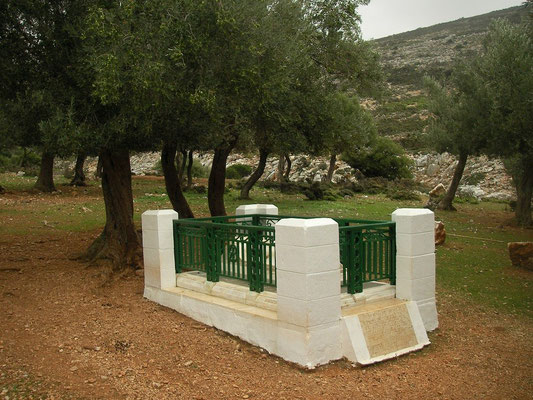 The tomb of the English poet Rupert Brooke who died on a French hospital ship of the coast of Skyros during the First World War.