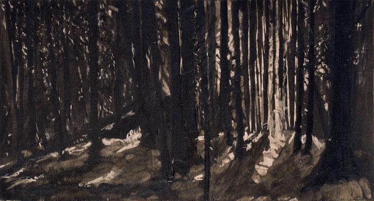 """""""Sommerwald"""" 2014, 13x16cm, Acryl auf Holz, Holzschnitt (in Privatbesitz Krefeld)"""