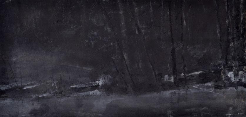 Mondnacht, 73,0 x 35,0 cm, Acryl u. Kohle auf Papier, 2015 (in Privatbesitz Krefeld)