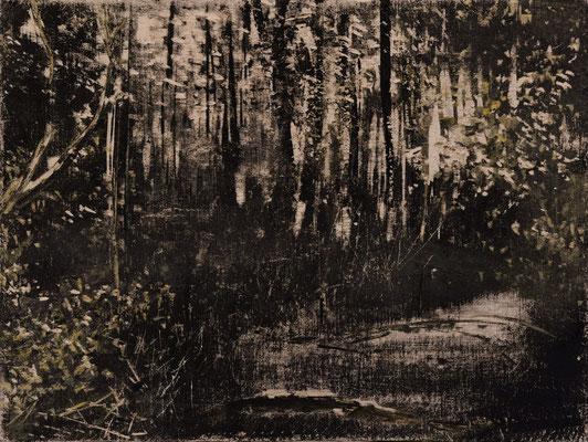 """""""Forstwald"""" 2015, 19x14cm, Acryl auf Holz, Holzschnitt (in Privatbesitz Bocholt)"""