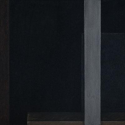 """black box abstrakt 2 / I"" 25,0 x 25,0 cm, Acryl u. Polychromos auf MDF, 2018"