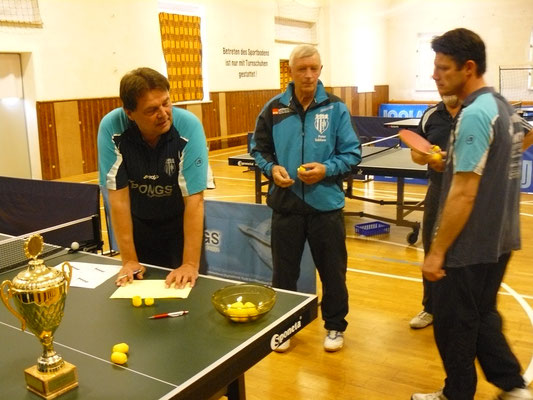 Vereinspokal 2016 - Auslosung v.l.: Detlev Pensold, Peter Schliwa und Marcel Ring
