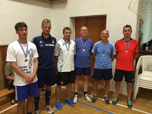 Sieger im Doppel  -  v.l. Johannes & Jakob Pieles (3.), Roy Zimmermann & Franz Kuhl (1.), Gerd Pätz & Holger Knoch (2.)