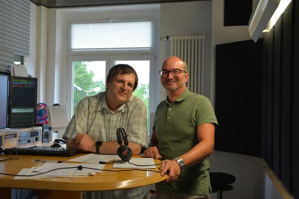 Moderator Uwe Schwarz und Torsten Zimmermann nach der ersten Session.