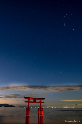 #Japan, #Shiga prefecture, #Takashima city, #Biwa lake, #Shirahige sanctuary, #Torii, #night view