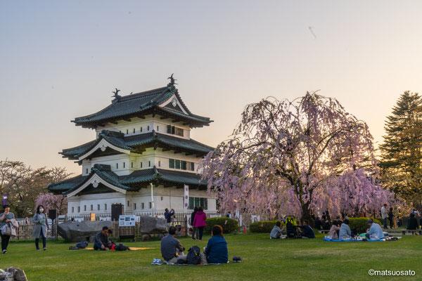 2 - Província de AOMORI. Castelo de Hirosaki na primavera. A torre do castelo foi construída no período Edo (1603–1868), o jardim  possui cerca de 2.600 cerejeiras e é considerada uma das mais belas do Japão.